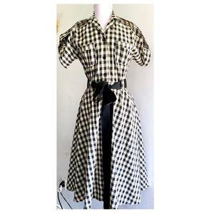 Bettie Page Tatyana Black & Cream Swing Dress